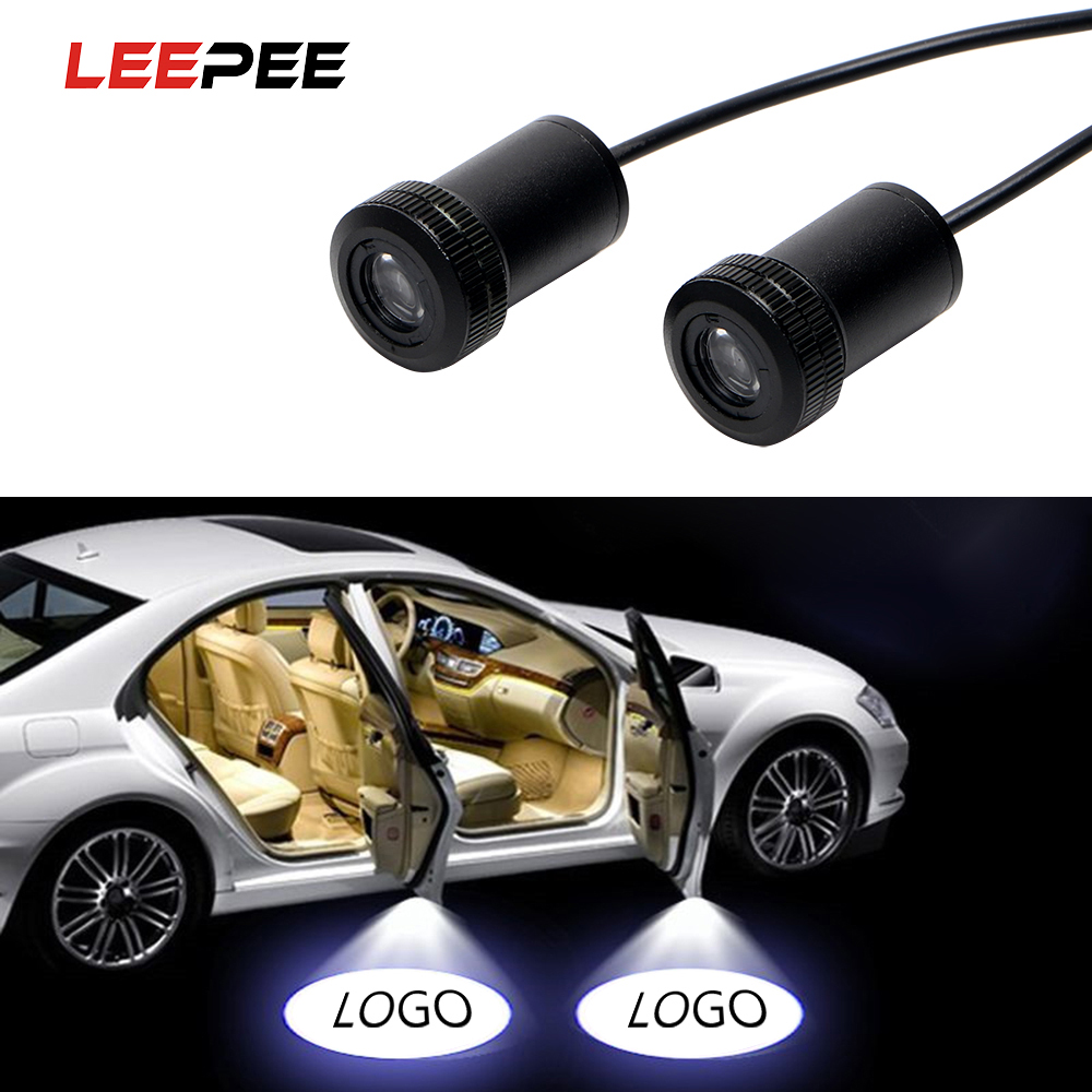 2Pcs Car LED Door Warning Light Ghost Shadow Light Welcome Lamp Logo Laser Projector For Ford Audi BMW Toyota Volkswagen 1 pair auto brand emblem logo led lamp laser shadow car door welcome step projector shadow ghost light for audi vw chevys honda page 1