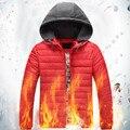 Бесплатная доставка плюс размер зима мужская одежда ватные куртки вниз утолщение хлопка-ватник с капюшоном красный черный пальто 4xl-8xl