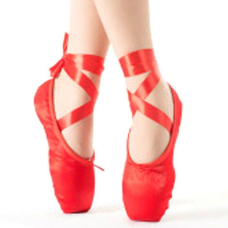 Women Ballet Dance Toe Girl Professional Satin Pointe Silk Ribbon Bandage Shoes