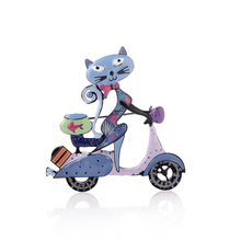 Cute Cat women Brooches Enamel Alloy Cartoon Motorcycle Brooch Pin New Fashion Thanksgiving Jewelry Animals Pins Accessories