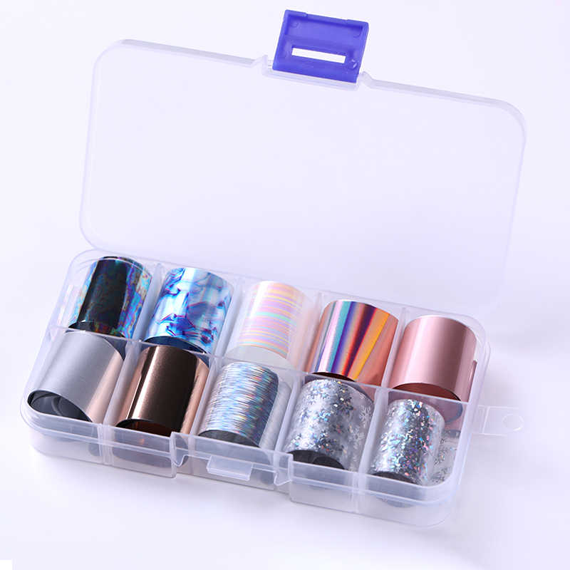 10 Rolls/Box Holographic Nail Foils Nails Wraps Multi-pattern Colorful Transfer Sticker Decals Tips Nail Art Decorations