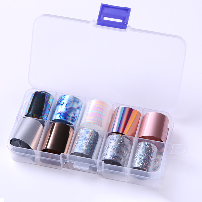 10 Rolls/Box Holographic Nail Foils Nails Wraps Multi pattern Colorful Transfer Sticker Decals Tips Nail Art Decorations-in Stickers & Decals from Beauty & Health