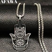 2019 Yoga Lotus Hamsa Hand Stainless Steel Chain Necklace Men Silver Color Black Statement Chain Necklace Jewelry joyas B18203 недорго, оригинальная цена