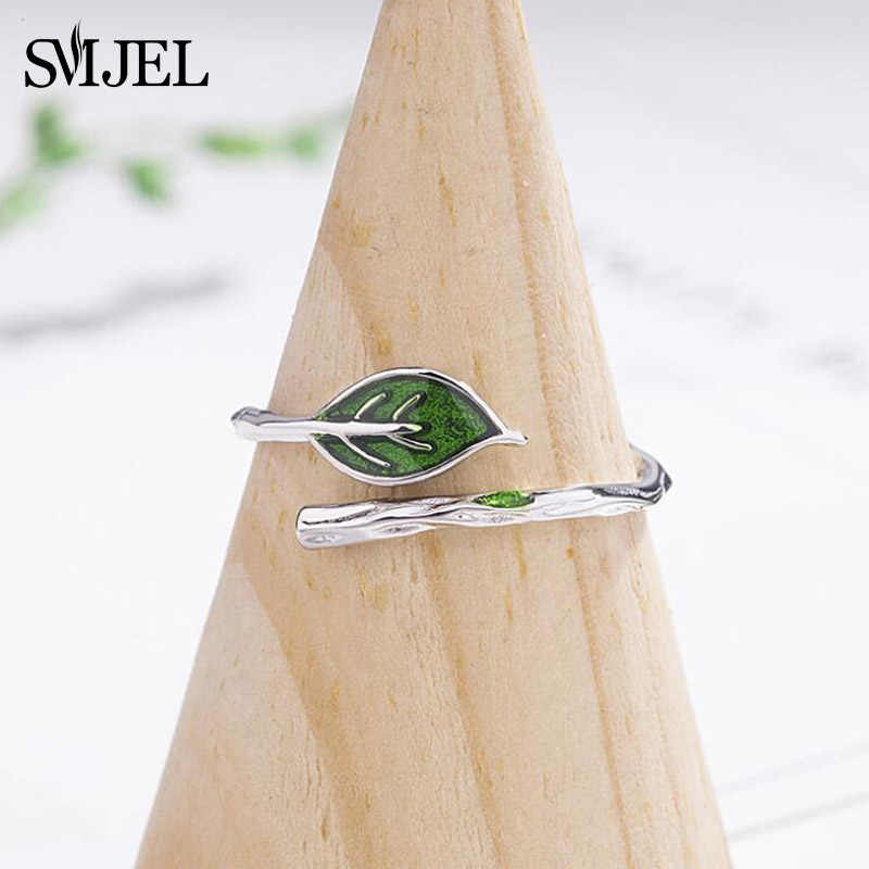 SMJEL New Green Leaf Branch Rings for Women Open Adjustable Finger Rings lovely Jewelry Vintage Vine Leaf Ring anillos