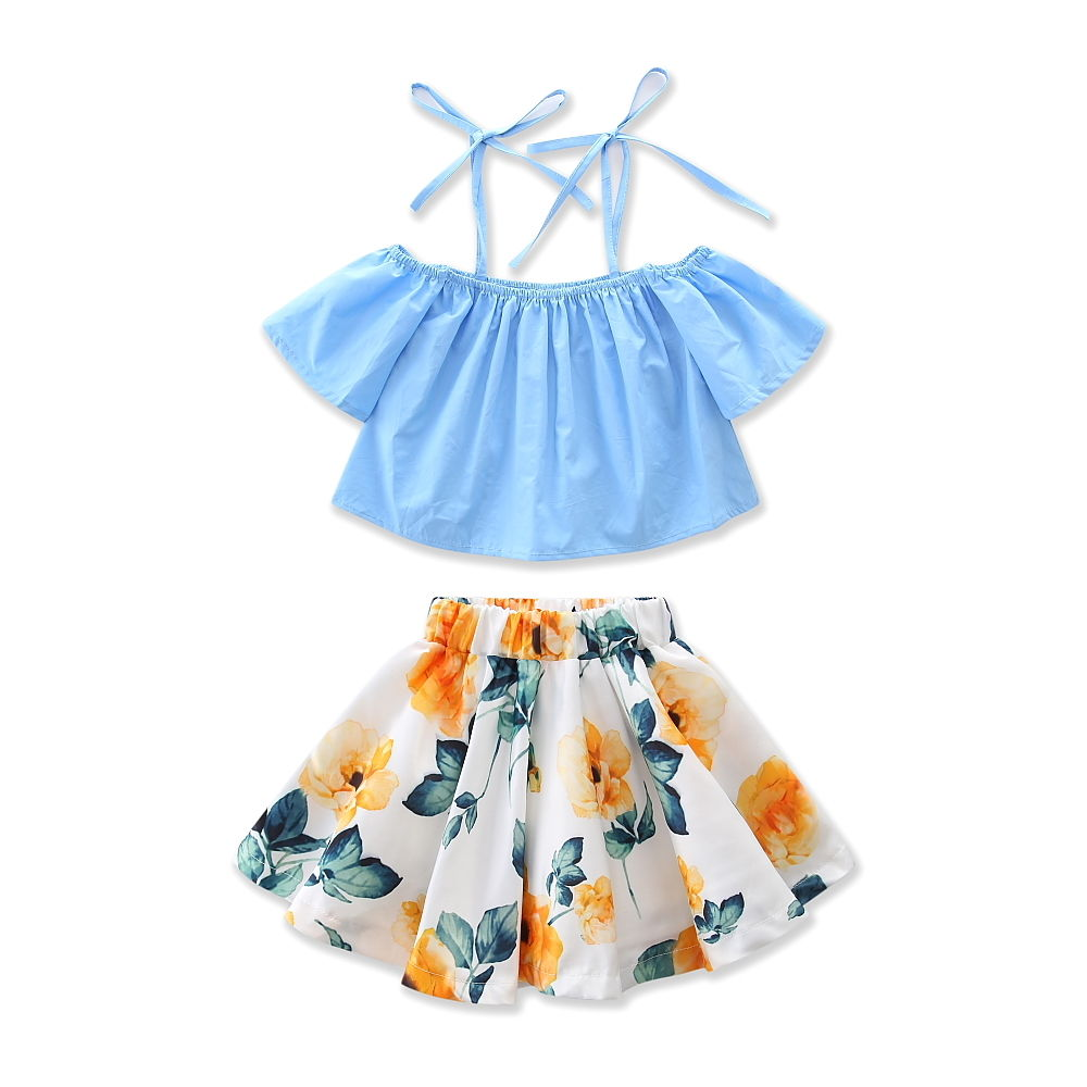 New-Fashion-Children-Girls-Clothes-Off-shoulder-Flare-Sleeve-Denim-T-shirt-TopsFloral-Skirt-2PCS-Outfits-Kids-Clothing-Sundress-3