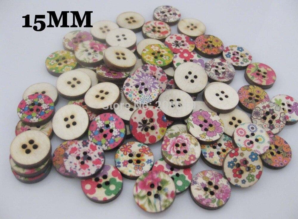 WB0271 Классическая рубашка кнопки смешать 200 шт. 4 отверстия 15 мм круглая кнопка древесины с цветочным принтом записки