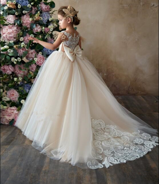 2019 royal princess sheer back champagne and ivory lace wedding flower girl dresses first communion gown with long train bow