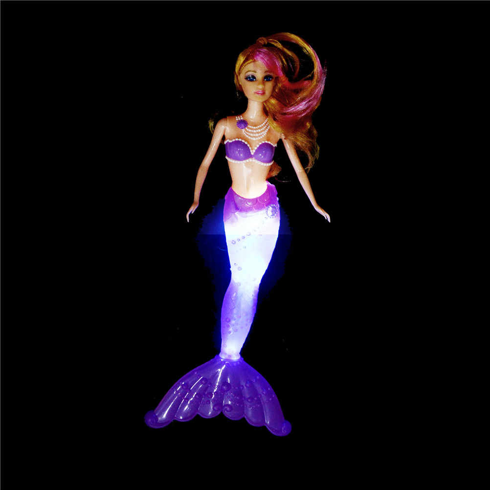 1PCS Classic 34cm High Anna Ariel's Dolls Toy For Girl Birthday Gifts 34 cm Fashion Ariel Princess Mermaid Doll With LED Light