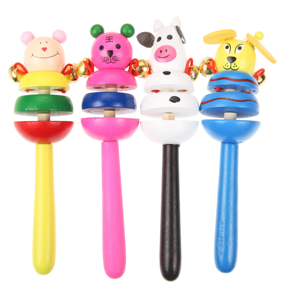 Image 3 - 1pc Baby Toys Rattles Wooden Activity Bell Stick Shaker Baby Toys for Newborns Children Mobiles Rattle Baby Toy Random Color-in Baby Rattles & Mobiles from Toys & Hobbies