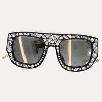 Women's Fashion Sunglasss Square Brand Designer Sun Glasses 2019 High Quality Diamonds Frame Sun Glasses Vintage Shades