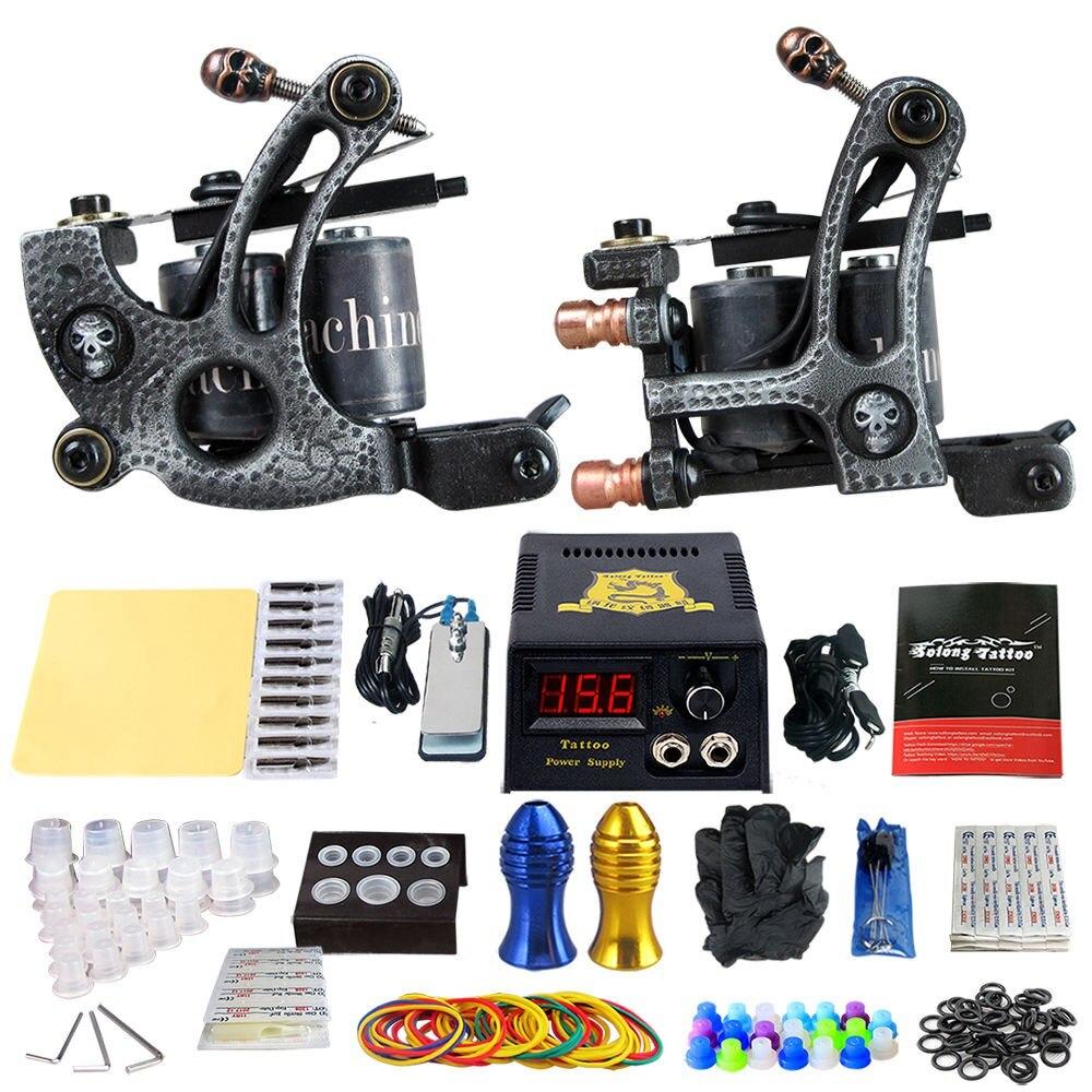 Complete Tattoo Machine Kit Set 2 Coils Guns Sets Grips Body Arts Supplies Needles Tips Tattoo Beginner Kits TK202-27 цены