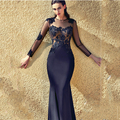 Sexy Vestidos De Fiesta Black Appliqued Lace Long Sleeve Floor Length Mermaid Formal Evening Dresses