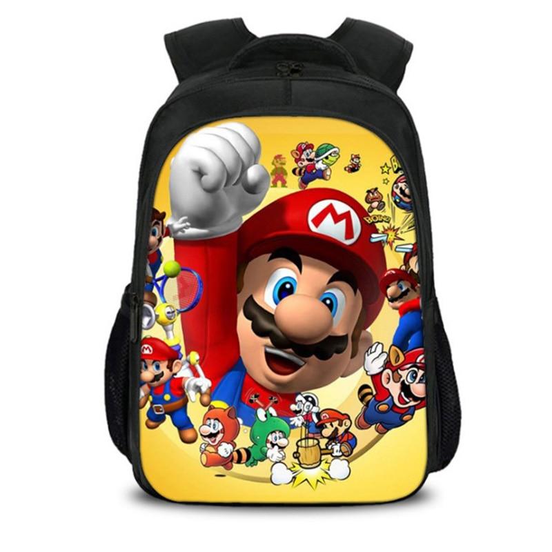 58f7f794221c New Hot Cartoon Mario Backpack Bookbag Teens Back to School Bags Super Mario  Gifts For Boys