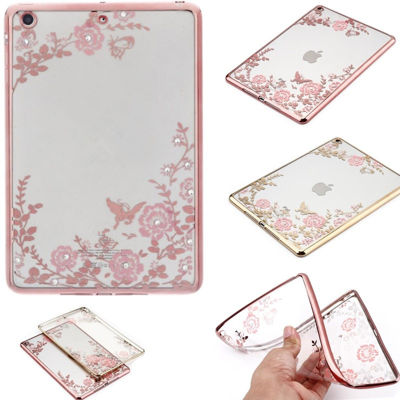 Tablet Case For Ipad Mini 1 Case For Ipad Mini 2 / Mini 3 Case TPU Soft Ultra Thin Slim Clear Transparent Flower Butterfly Cover