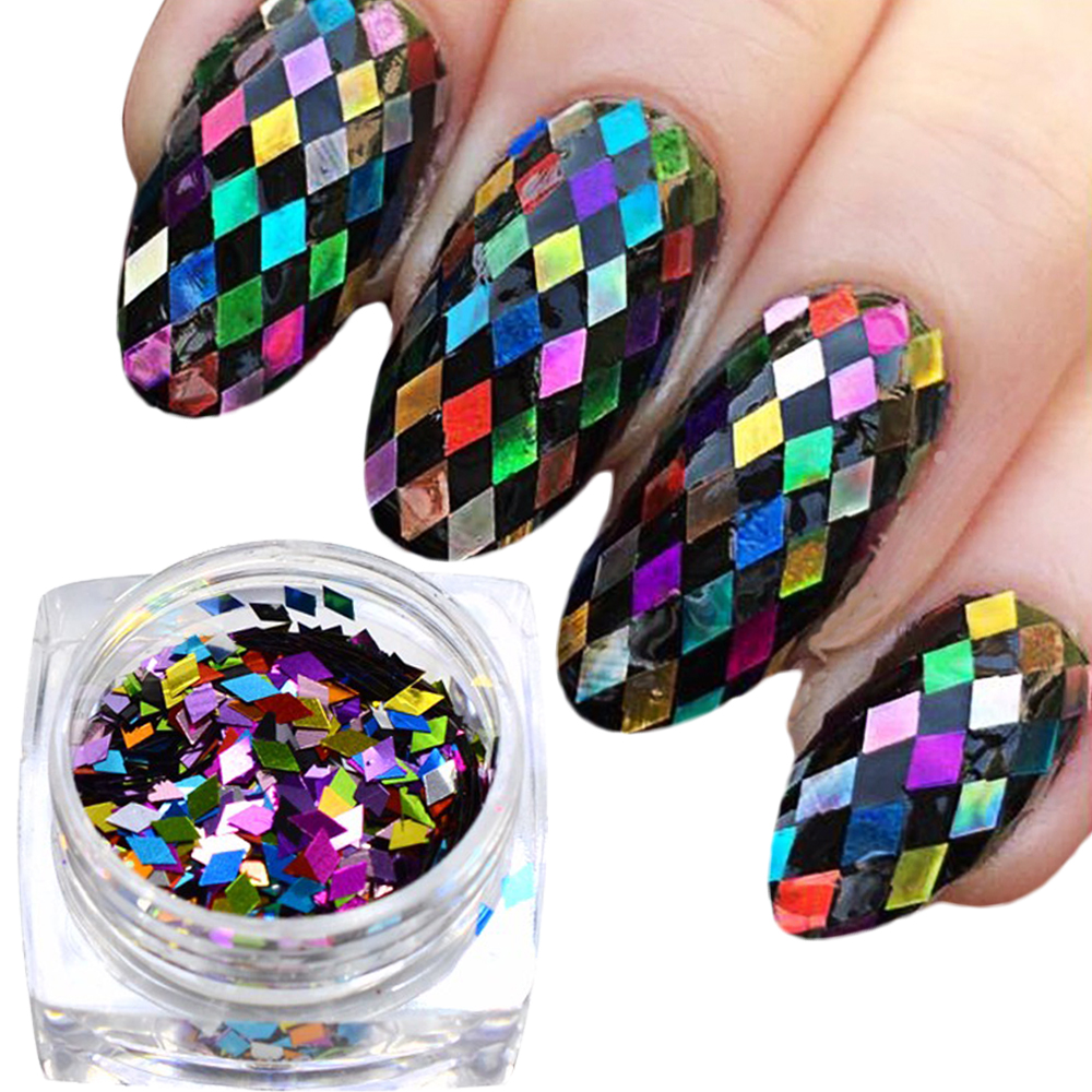 Hot Sale 1g Mixed Color Rhombus Thin Paillette Nail