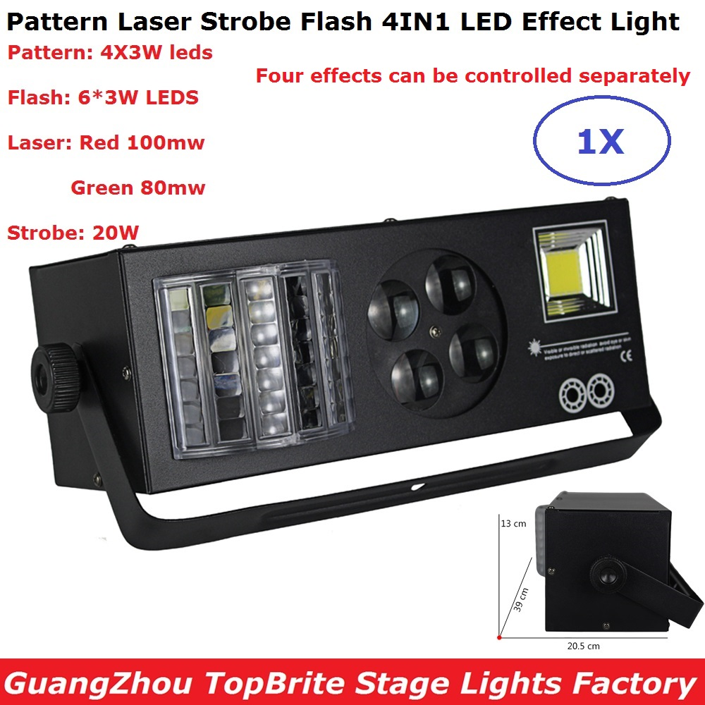 Laser Strobe Flash Pattern 4IN1 LED Stage Effect Lights DMX 9 Channel Good For Disco DJ Party KTV Nightclubs Event Live Show