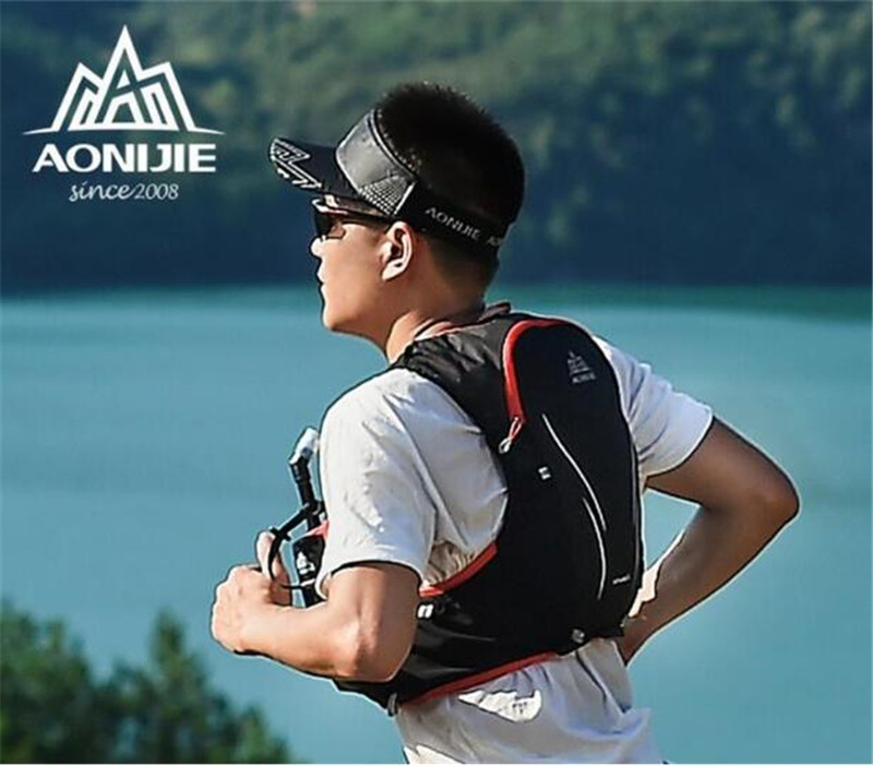 Купить с кэшбэком AONIJIE 5L Upgraded Outdoor Running Bag Backpacks Marathon Hiking Cycling Backpack Hydration Upgraded Vest Pack