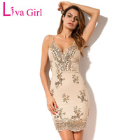 Liva Girl 2017 Black Gold Sequin Sexy Party Mini Dress Women Sexy V Neck Backless Bodycon