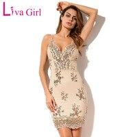 Liva Girl 2017 Black Gold Sequin Sexy Party Mini Dress Women Sexy V Neck Backless Bodycon