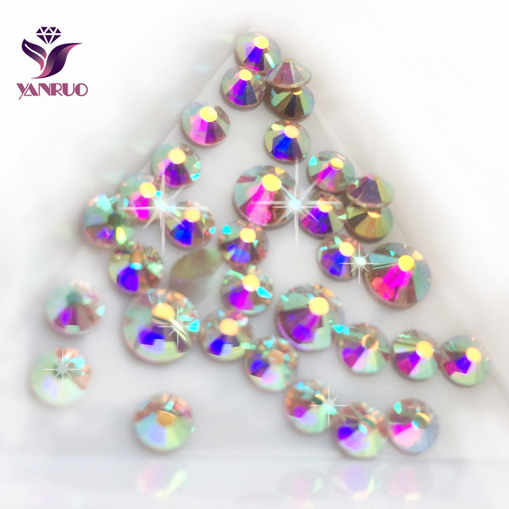YANRUO 2058NoHF Crystal AB Rhinestone for Nails Art Crafts Sew Strass Stones and კრისტალები მინის Rhinestones