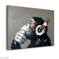 MODERN ABSTRACT WALL ART OIL PAINTING ON CANVAS:Music Monkey