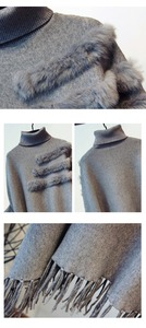 Image 5 - New Fashion Autumn And Winter Women High Collar Real Rabbit Fur Cloak Pullover Lady Bat Sleeves Tassel Poncho Sweater Knitwear