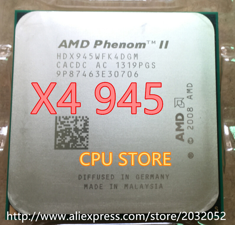 AMD Phenom II X4 945 3.0GHz Quad Core AM3 6MB 95W TDP C3 HDX945WFK4DGM Processor