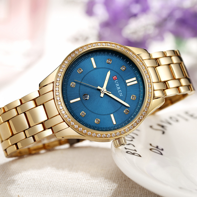 Модные женские туфли ювелирные изделия из кристаллов кварцевые часы Curren бренд роскошные золотые нержавеющая сталь браслет дамы часы для же...