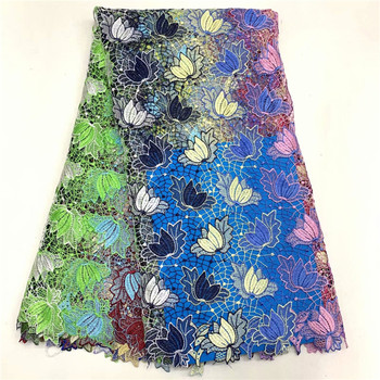 Latest African Lace Fabric 2019 High Quality Nigerian Lace Fabrics African Guipure Embroidery Water Soluble Lace Fabric F65-1723