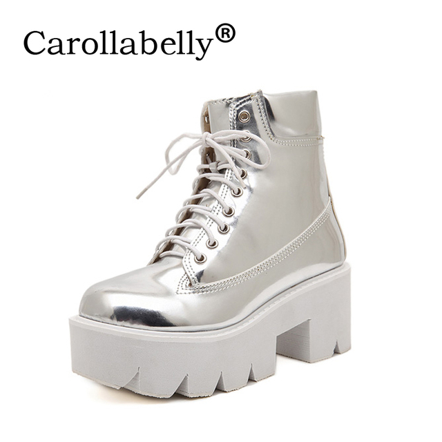 d5e9641dbff Lace up high heels women punk style ankle boots thick bottom platform shoes  european motorcycle jpg