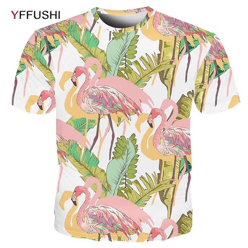 817570f90 YFFUSHI 2018 New Flamingo Printed Men tshirt Fashion Male/Female 3D T shirt  Summer Casual