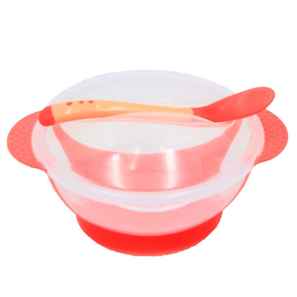 อุณหภูมิ Sensing Spoon ชุดอาหารเด็กชามอาหารการเรียนรู้จานแผ่นบริการ/ถาดดูดถ้วยเด็กชุดอาหารเย็น