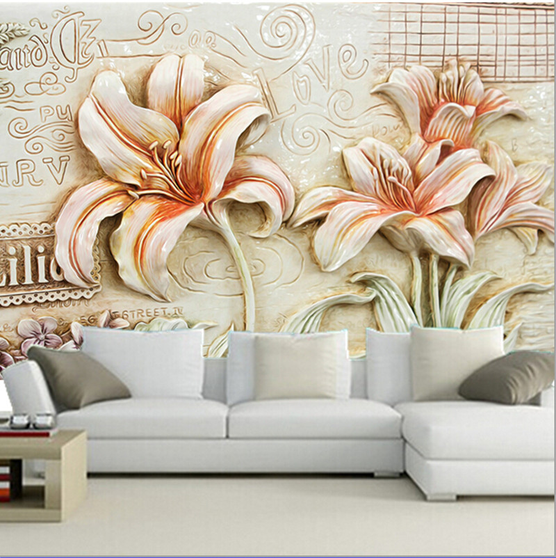 The custom 3D murals,Beautiful retro lily flower wallpaper papel de parede,living room sofa TV wall bedroom wall paper custom papel de parede infantil see graffiti mural for sitting room sofa bedroom tv wall waterproof vinyl which wallpaper
