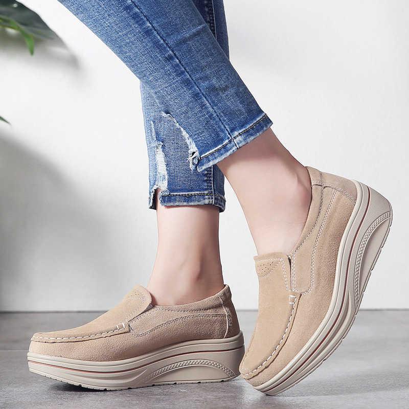 2019 г., осенняя женская обувь на плоской платформе Кожаные Замшевые кроссовки без шнуровки, легкие женские мокасины, Chaussure Femme, 8338