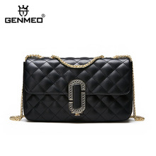 GENMEO Famous Designer Diamond Stitching Genuine Leather Shoulder Bag Woemn Cow Handbag with Chain Strap Bolsa