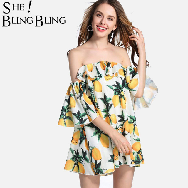 413d1ee7bbc7 SheBlingBling Summer Sexy Off The Shoulder Fruit Print Flounced Dress  Fashion Mini Dress Loose Extreme Flare Sleeve Dress