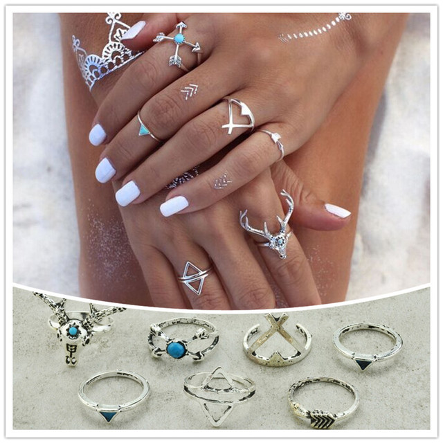 New fashion accessorie vintage silver plated elk deer arrow finger ring set 1lot=7pieces for women girl nice gift R4043