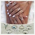 Nuevo accesorio de moda de la vendimia de plata plateado ciervos alces flecha anillo de dedo set 1 lote = 7 piezas para la mujer chica bonito regalo R4043