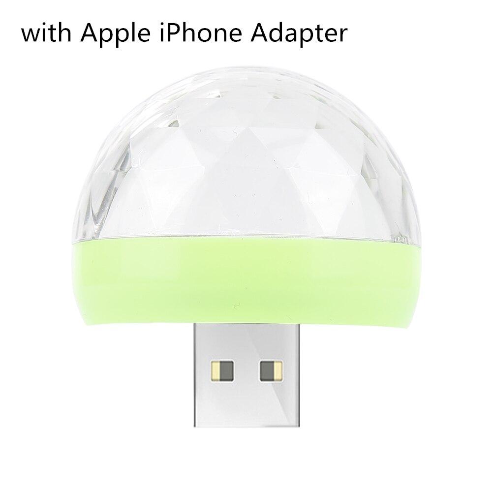 Мини USB светодиодный светильник для дискотеки, портативный светильник для рождественской вечеринки, магический шар, сценический светильник для диско-клуба, яркий эффект, сценическая лампа для мобильного телефона - Цвет: green ball B