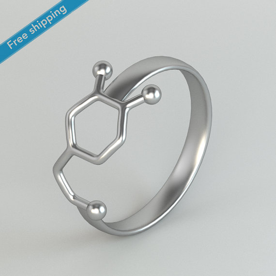 New Fashion Dopamine Molecule Ring Chemistry Jewelry Neurotransmitter Science Jewelry Rings for Women