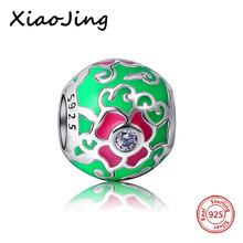 New arrival Original European Bracelets flower round charms Green color Enamel silver 925 beads Jewelry Making for women Gifts