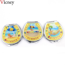 Vicney 2018 New Portable Double-sided Makeup hand Mirror Horseshoe shape Metal Cartoon Natural style pocket mirror high quality