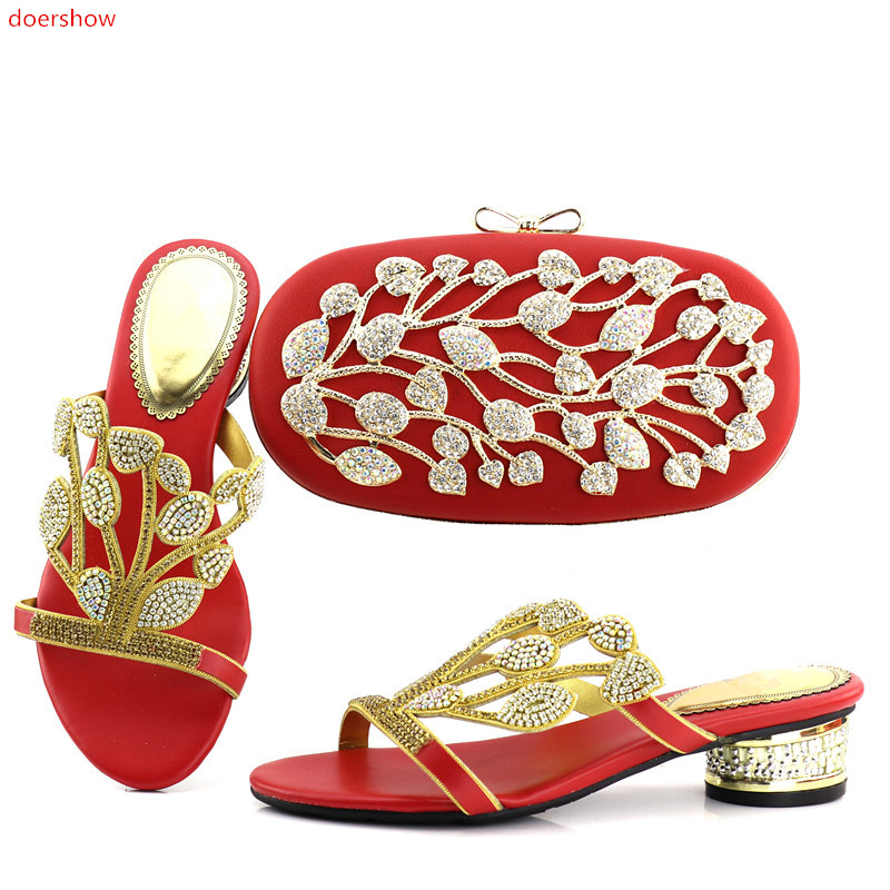 doershow red color Italian Shoes With Matching Bag Set For Wedding Party Fashion Women Pumps African Shoes and Bags  JX1-6 doershow african women matching italian shoe and bag set for wedding italian shoes with matching bags italy shoeshsk1 38