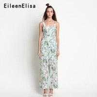 2018 Повседневное широкие брюки с цветочным принтом комбинезон женщин Спагетти ремень комбинезон