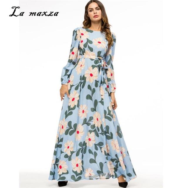 Abaya Gowns Maxi Dress Muslim Print Modest Dress Turkey Islamic ...
