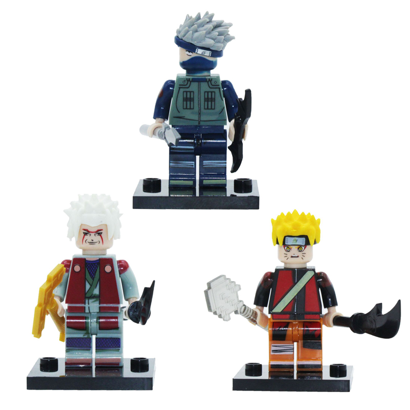 Single Sale Super Heroes Naruto Movie Jiraiya Uzumaki Naruto Hatake Kakashi Bricks Building Blocks Children Gift Toys naruto action figure hatake kakashi flash power rock scene diy set naruto shippuden hatake kakashi model toy kakashi diy180