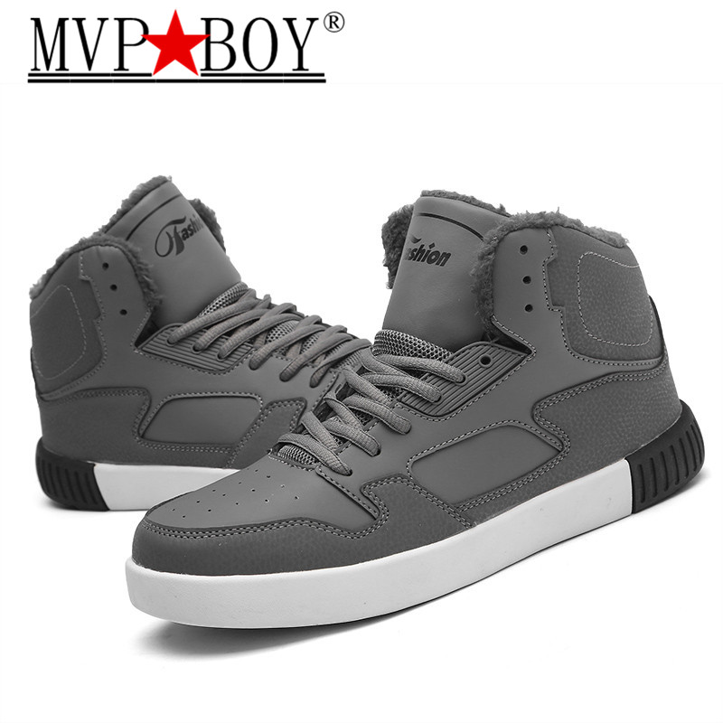 MVP BOY Winter Men High Top Plush Sneakers Students Keep Warm Flats Youth PU Leather Outdoor Anti slip Walking Shoes black gray in Snow Boots from Shoes