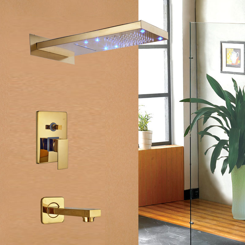 Solid Brass LED Rainfall and Waterfall Shower Head Bathroom Shower Faucet Tub Mixer Tap Gold