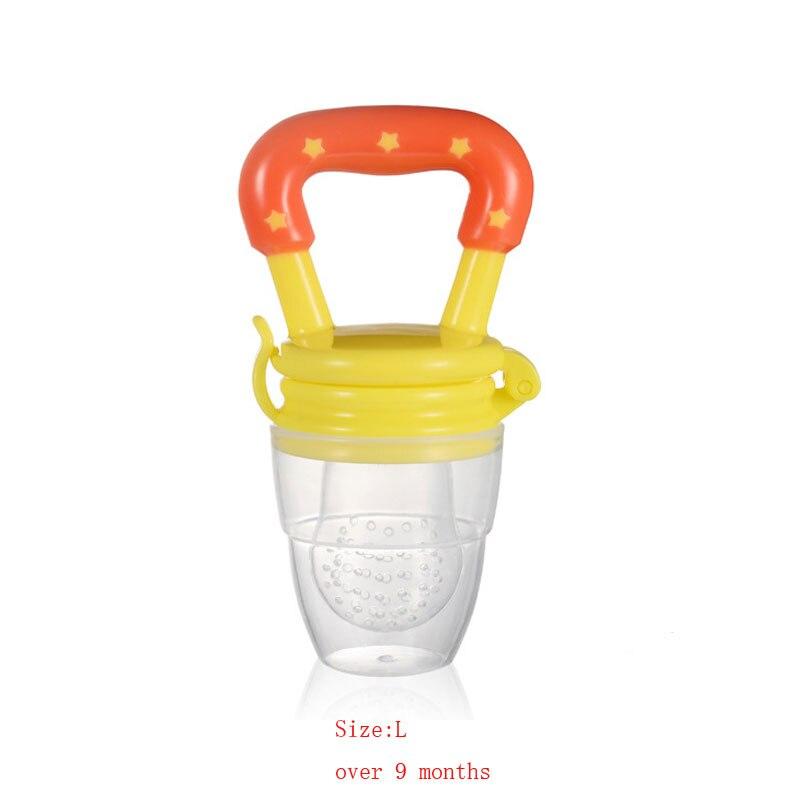 Силиконовый детский успокоитель младенцев Соска-пустышка детские соски Фидер для еда, фрукты пустышки для младенцев для кормления с соской - Цвет: Orange  L