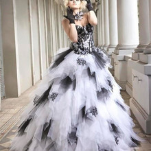 cecelle Black White Gothic Ball Gown Wedding Dresses 2019